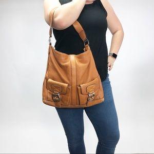 Michael Kors tan leather hobo purse bag buckle